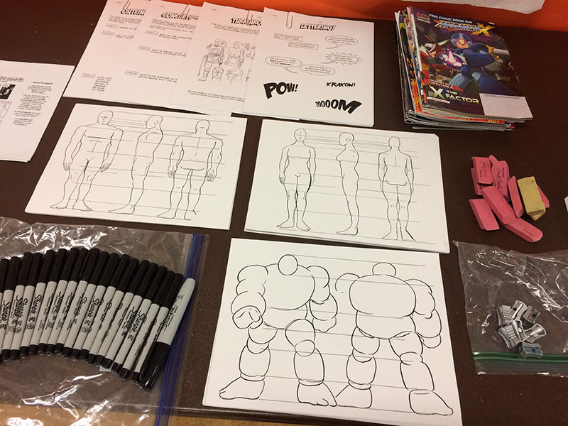 Comic Books 101 drawing supplies for future cartoonists include erasers, pencil sharpeners, sketch studies and markers.