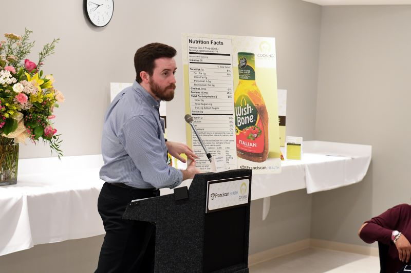 Dr. Patrick Hines broke down the details on a food nutrition label, discussing the most important aspects for health. (Photo by Bruce Burns/Burns Photography)
