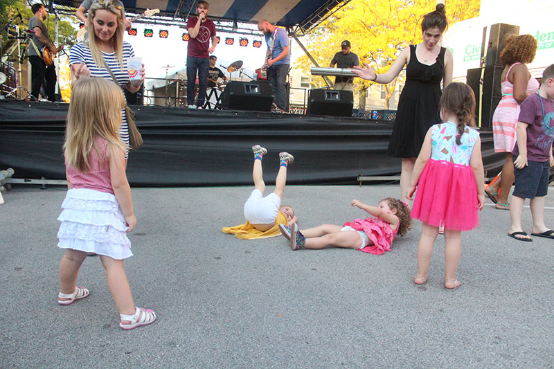Kids show off unique dance moves at the 2017 Fall Fest. The event this year will again be filled with danceable live music.