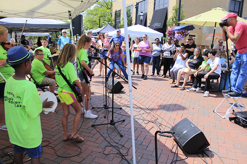 Live music is a staple of the Homewood Farmers Market. Here, Melody Mart students prepare to perform on Aug. 11, 2018.