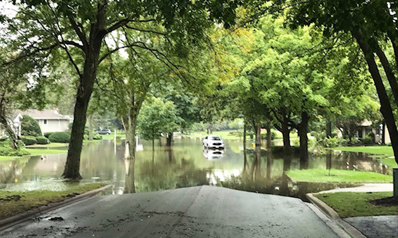 Flooding on Dartmouth Road in Flossmoor looking toward the dead end following storms Friday night. (Provided photo)