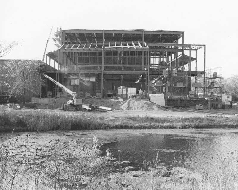The main campus building under construction in 1972.