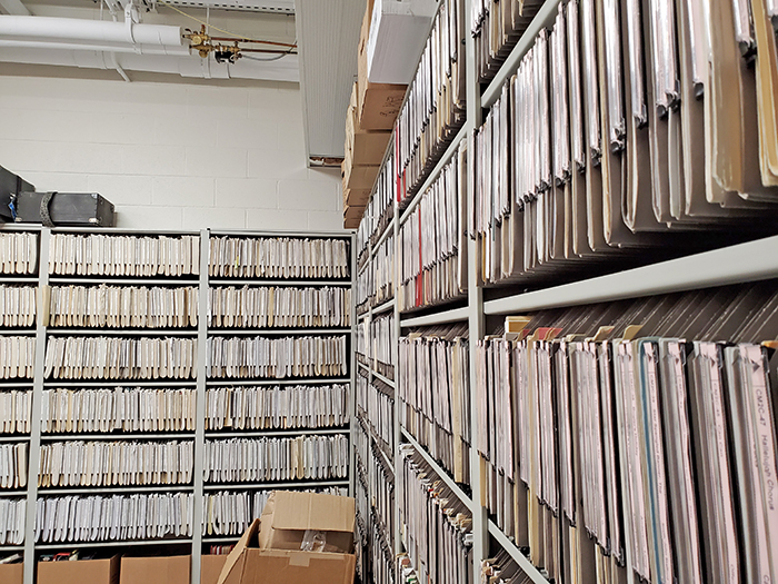 The H-F music department has its own library for sheet music used by the marching, jazz and symphonic bands, the orchestra and other groups. (Eric Crump/H-F Chronicle)