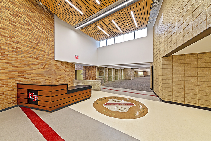 The heightened ceiling and natural light enhance the new entryway into the Homewood-Flossmoor High School Fine Arts Center. Wider aisles will give guests a space to congregate and view display cases filled with the many awards students have won. (Provided photo)