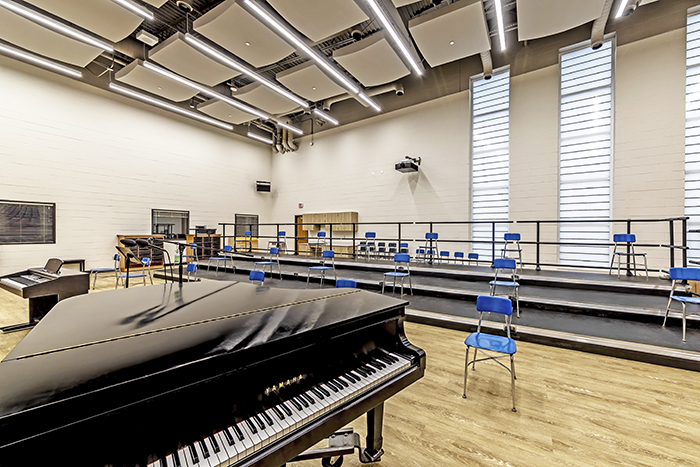 The choir room in the new Fire Arts Center at Homewood-Flossmoor High School has plenty of room to accommodate large groups and small ensembles. Special acoustics were designed for the space. (Provided photo)
