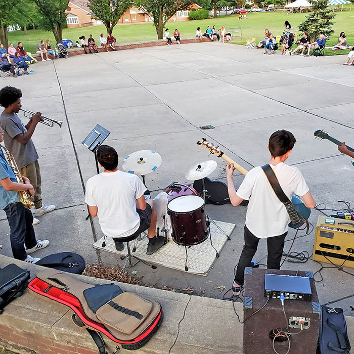 The Park Sessions band perform jazz, blues and R&B music for listeners at Irwin Park on July 2. (Eric Crump/H-F Chronicle)