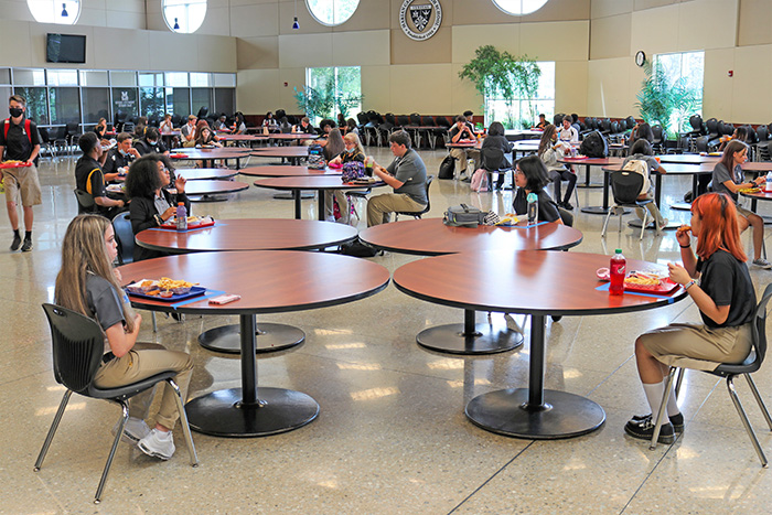 Students in the lunchroom at Marian Catholic follow strict social distancing. (Provided photo)