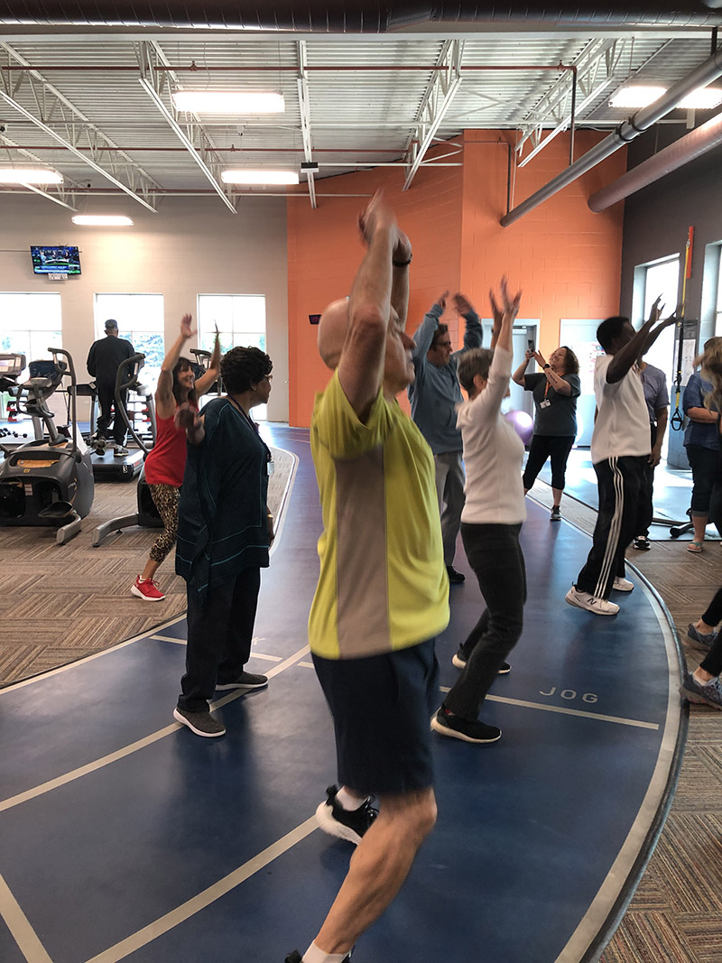 Members of the Homewood-Flossmoor Racquet & Fitness Club did 105 jumping jacks in honor of Mary Cantway's 105th birthday.