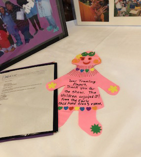 A thank-you note expresses gratitude to the Elyse Bell Traveling Players, a group of NCJW South Cook members who entertain at schools for children with special needs.