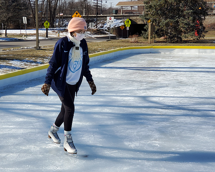 Brianna Roberts said she was glad to have the outdoor rinks at Flossmoor Park since the H-F Ice Arena is closed because of the COVID-19 pandemic. (Eric Crump/H-F Chronicle)