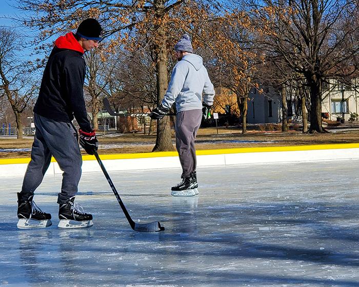 Tim Furtek of Homewood gets in some hockey practice at Flossmoor Park on Saturday. (Eric Crump/H-F Chronicle)