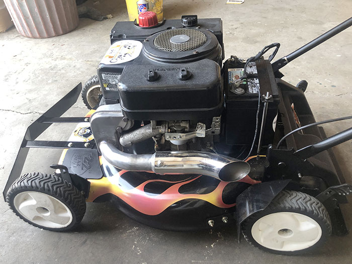 The lawnmower given to John Henry has air brushed, painted flames. (Nick Ulanowski/H-F Chronicle)