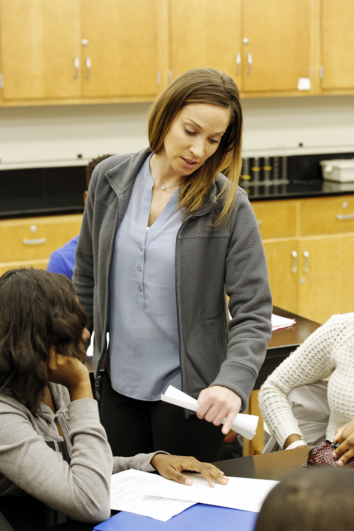 Homewood-Flossmoor High School teacher Michelle Kozik working with students. She has been named Illinois Biology Teacher of the Year. (Provided photo)
