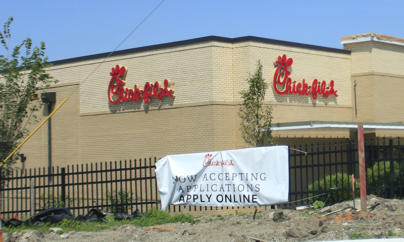 The new Chik-fil-A restaurant at 175th and Halsted streets in Homewood is expected to open in September. (Eric Crump/H-F Chronicle)