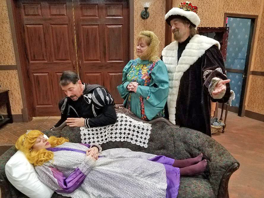 """The Drama Group cast, from left, Lisa Kristina, Miguel Gonzalez, Marylee Hoganson and Tony Labriola are ready for the production of """"Sleeping Beauty"""" April 10 through 14. (Provided photo)"""