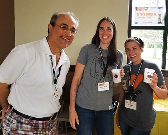 Flossmoor Community Church Pastor Fred Lyon and Community House Fest volunteers Kristiana Bailey and Lizz Molina prepare for this year's fundraiser to support maintenance of the community house. (Provided photo)
