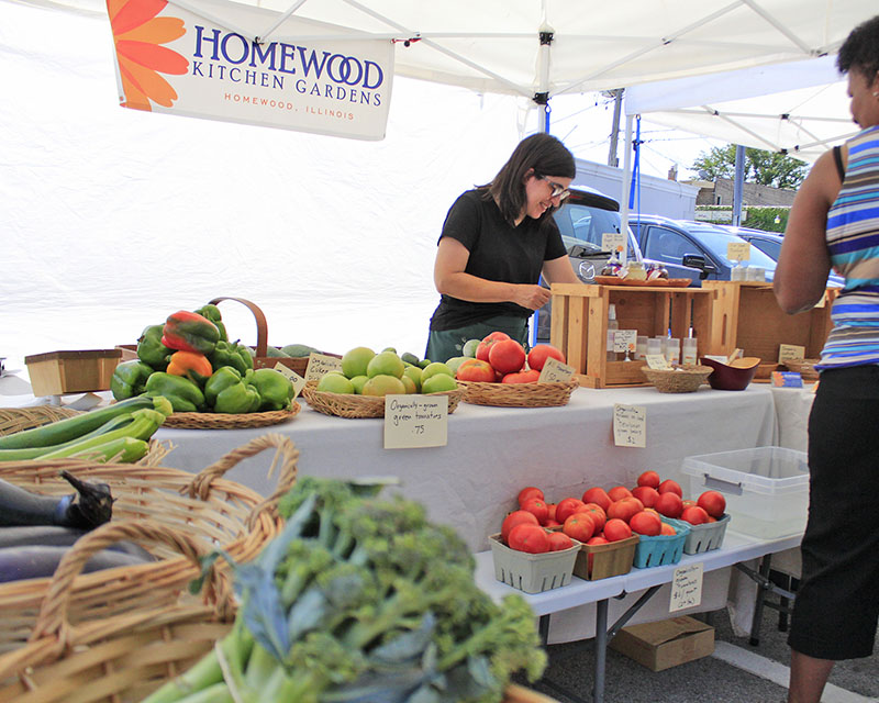 Nancy Spiegel of Homewood Kitchen Gardens talks with customers during an August 2018 session of the market. (Chronicle file photo)