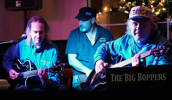 Frank Anastos, left, with fellow Big Boppers Dennis Leahy and John Falstrom. The band frequently performs at Mama and Me Pizzeria in Homewood. (Provided photo)
