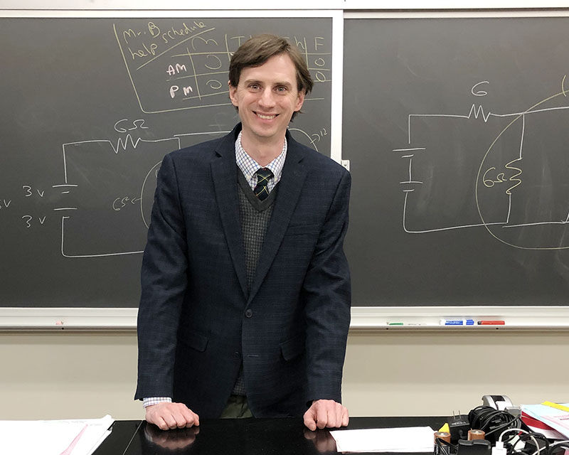 Stephen Banasiak, a science teacher at Homewood-Flossmoor High School, has been nominated for a National Science Foundation award. (Marilyn Thomas/H-F Chronicle)