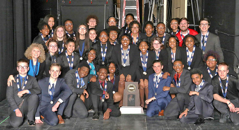 Members of the H-F High Group Interpretation ensemble and their coach and teacher Janine Stroemer, second row on left, after winning second place in state competition. (Provided photo)