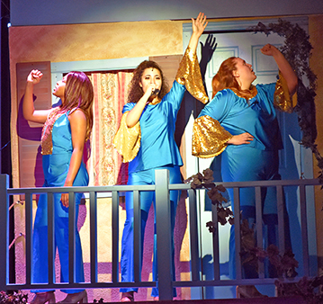 """Guests will see, from left, Adeera Harris as Tanya, Ava Jones as Donna and Greta Schmidt as Rosie when the H-F Theatre presents """"Mama Mia!"""" at 7 p.m. Friday and Saturday in the Mall Auditorium. (Provided photo)"""