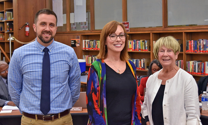 Three Homewood-Flossmoor High School winners of Those Who Excel honors are, from left, Matt Holdren, teacher; Nancy Spaniak, director of curriculum, development and professional development; and past District 233 board member Jody Scariano. (Provided photo)