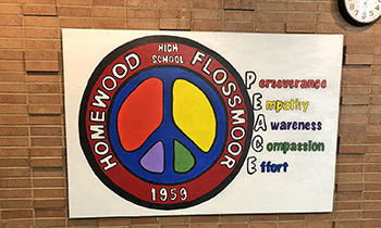 The PEACE acronym lends itself to Viking Values. The logo is on display in Homewood-Flossmoor High School's North and South Buildings. (Marilyn Thomas/H-F Chronicle)