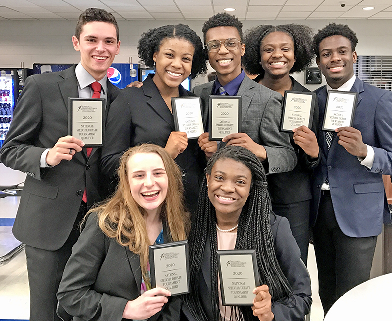 Homewood-Flossmoor High speech and debate students were selected for the National Speech and Debate Association's national competition in Albuquerque. Representing H-F will be, front row Lilah Kreis, left, and Victoria Olaleye, and back row, from left, Jonathan Kriarakis, Adeera Harris, Charles Austin III, Ariel Davis and Nathaniel Jones. (Provided photo)