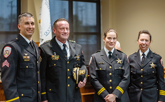 Homewood Police Chief Denise McGrath, right, with a new leadership team, from left, Steve Brandenburger who was promoted to sergeant and Robert Misner and Kelly Strayer promoted to deputy chiefs. (Andrew Burke-Stevenson/H-F Chronicle)