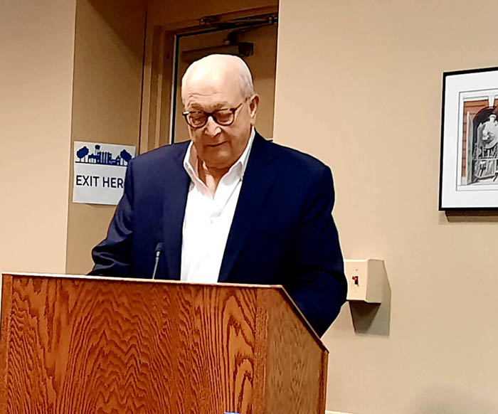 Marvin Van Drunen speaks at the Homewood Board of Trustees meeting on Tuesday, July 13, thanking the board for honoring the Van Drunen family, which recently sold its Ford dealership after 91 years in business. (David P. Funk)