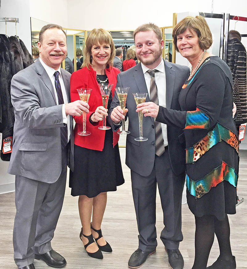 Larry, Susan and Jordy Kluger and Kluger Furs manager Kerry Marggraf celebrated the business's recent expansion. (Provided photo)