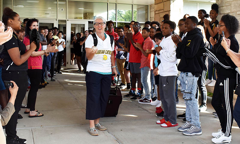 Sister Mary Jo Sobiecki gets a big send-off from Marian Catholic High School students and staff on July 9 as she heads for the ESPY award ceremony in Los Angeles. (Mary Compton/H-F Chronicle)