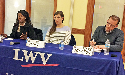 The three candidates for the Homewood-Flossmoor Park District, from left, Linda Ojode, Brit Violini and Steve Johnson, answered questions at a League of Women Voters forum. (Marilyn Thomas/H-F Chronicle)