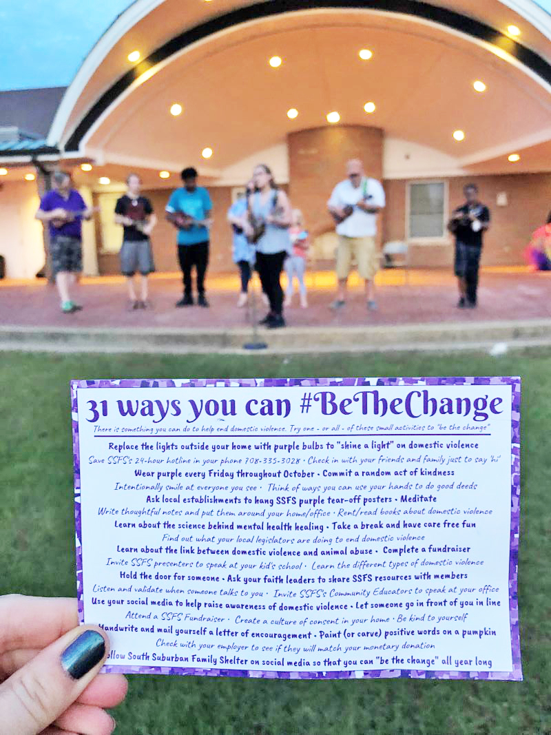 Be the Change cards created by South Suburban Family Shelter offer a suggestion for each day in October Domestic Violence Awareness Month. (Carole Sharwarko/H-F Chronicle)