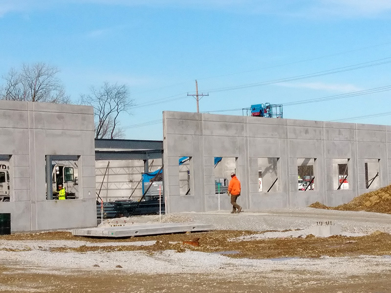 The walls are up for the Shirley Ryan AbilityLab in this photo taken Feb. 15 at the construction site at South Halsted Street and Holbrook Road. (Eric Crump/H-F Chronicle)