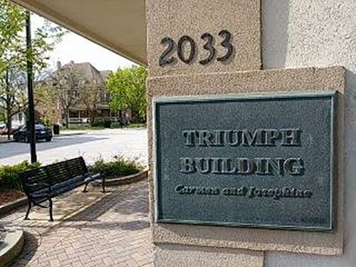 The Triumph building at 2033 Ridge Road is slated to be demolished to make way for a new four-story mixed-use building after the village sold it to a developer Tuesday night. (Eric Crump/H-F Chronicle)