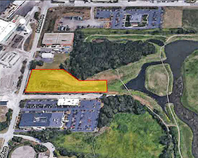 The yellow portion of this aerial view shows a  2.63-acre parcel of land that Homewood is selling to a CN Railway subsidiary. The land is on the west edge of Izaak Walton Nature Preserve. (Provided photo)