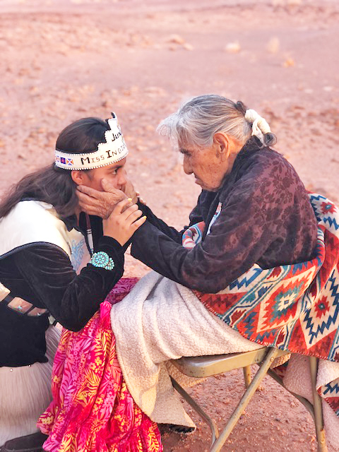 "Nizhoni Ward is shown at the Navajo Reservation with her great-grandmother Nez Bancroft, who is 98 and blind. She recognized her great-grandaughter by touch and asked ""Is this Nizhoni?"" in the Navajo language."