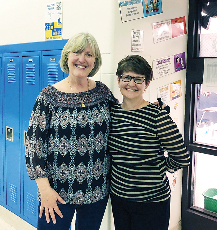 District 161 teachers Lisa Morrow, left, and DeLores Mannes became such good friends they decided to retire together in June. (Marilyn Thomas/H-F Chronicle)