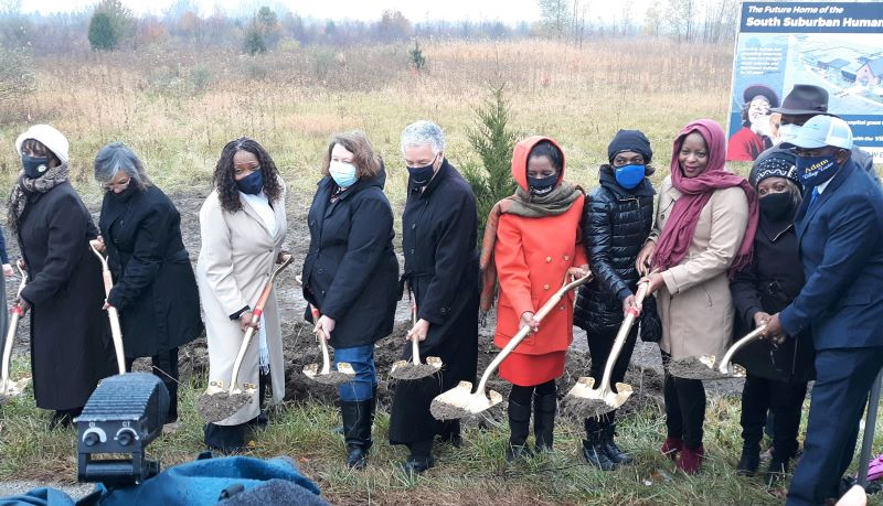 Local officials, including Cook County Board President Toni Preckwinkle and Cook County Commissioner Donna Miller, attended a groundbreaking ceremony for a new South Suburban Humane Society Facility in Matteson on Oct. 27, 2020. (David P. Funk/H-F Chronicle)