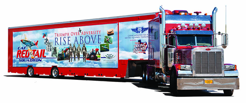"The Red Tail Squadron traveling experience features a mobile movie theater showing the movie ""Rise Above"" about Tuskegee Airmen."