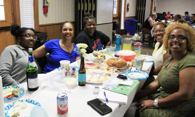 A group of friends from Lynwood and Chicago Heights enjoys A Seat at the Table, from left, Jayla Nelson, Lilly Spraggins, Debra Flowers, Jery Scott and Lisa Durr.