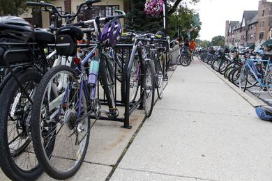 Bikes take a break in front of Flossmoor Station while many of the Bike the Gem cyclists enjoyed refreshments at the brew pub. (EC)