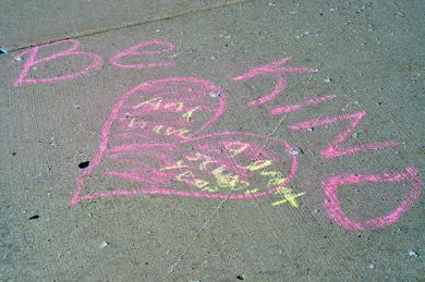 Pictured is a message left by fourth-grader Djimon Shakoor in front of Heather Hill Elementary School. (BJ)