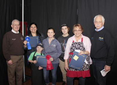 From left, Homewood Mayor Richard Hofeld poses with Bake-Off winners Jessica Josvai, first place; Michelle and Kammi Nelson, second place; Hailey and Patricia Stepp, third place; and Phil Kosanovich of the Homewood Community Relations Committee.
