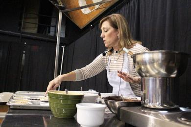 Barbara Haggerty demonstrates how to make truffles at the Chocolate Fest.