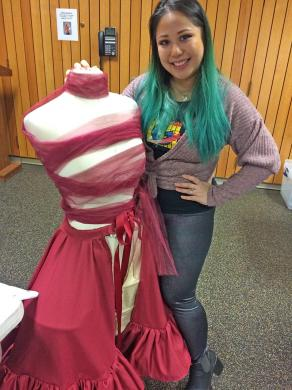 Monica Paprocki has started her next costume that will include lights. (Marilyn Thomas/H-F Chronicle)