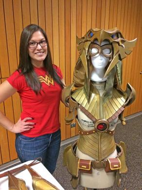 Jenny Prado, seen here with her latest creation, said cosplay allows her to appear at numerous charity events. (Marilyn Thomas/H-F Chronicle)