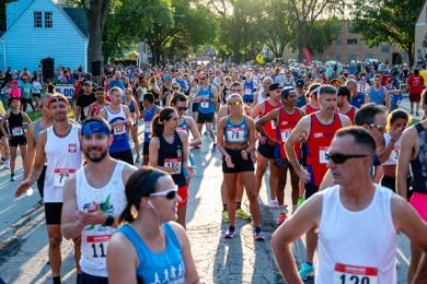 A sea of runners awaits the start of the race. More than 800 runners ran the race this year. (ABS)