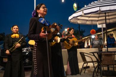 The Mariachi Sirenas! give a soulful rendition of a favorite Mexican ballad when they entertained audiences for an hour in downtown Flossmoor on Oct. 6. (ABS)